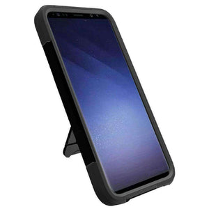 AMZER Dual Layer Hybrid KickStand Case for Samsung Galaxy S9 - Black/Black - fommystore