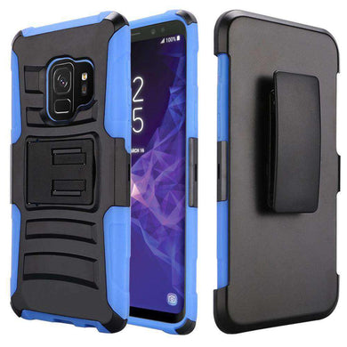 Rugged TUFF Hybrid Armor Hard Defender Case with Holster - Black/ Blue for Samsung Galaxy S9 - fommystore