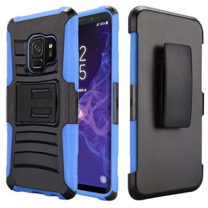 Rugged TUFF Hybrid Armor Hard Defender Case with Holster - Black/ Blue for Samsung Galaxy S9