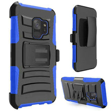 Load image into Gallery viewer, Rugged TUFF Hybrid Armor Hard Defender Case with Holster - Black/ Blue for Samsung Galaxy S9 - fommystore