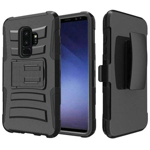 Rugged TUFF Hybrid Armor Hard Defender Case With Holster for Samsung Galaxy S9 Plus - Black/ Black - fommystore