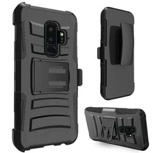 Load image into Gallery viewer, Rugged TUFF Hybrid Armor Hard Defender Case With Holster for Samsung Galaxy S9 Plus - Black/ Black - fommystore