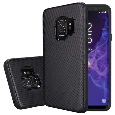 Textured Embossed Lines Dual Layer Hybrid TPU Case for Samsung Galaxy S9 - Black - fommystore