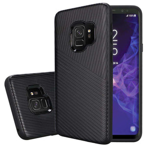Textured Embossed Lines Dual Layer Hybrid TPU Case for Samsung Galaxy S9 - Black