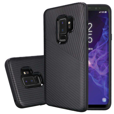 Textured Embossed Lines Hybrid TPU Case for Samsung Galaxy S9 Plus - Black - fommystore
