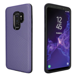 Textured Embossed Lines Hybrid TPU Case for Samsung Galaxy S9 Plus - Purple - fommystore