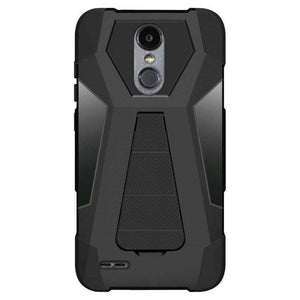 AMZER Dual Layer Hybrid KickStand Case for LG Aristo 2 - Black/Black - fommystore