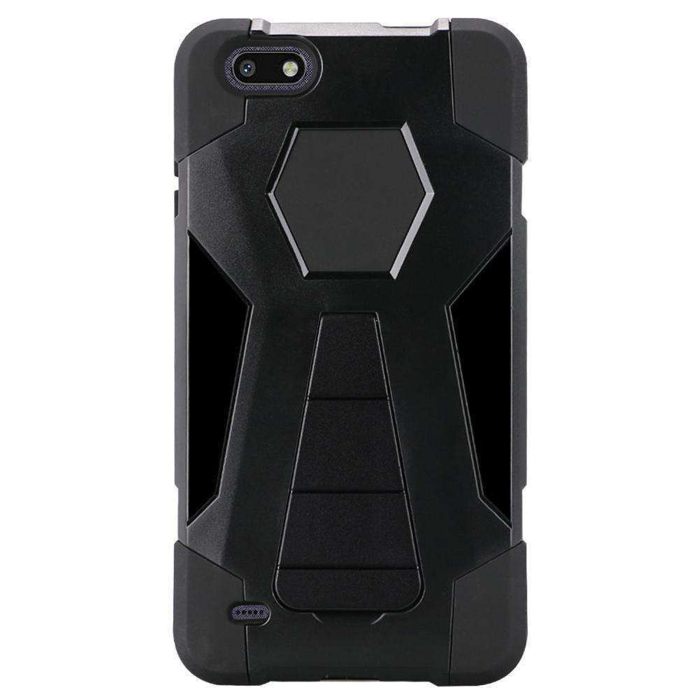 AMZER Dual Layer Hybrid KickStand Case for ZTE Blade Force N9517 - Black/Black - fommystore