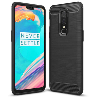 AMZER® Rugged Armor Flexible & Durable Shock Absorption Case with Carbon Fiber Design - Black for OnePlus 6 - fommystore