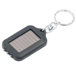 Mini Solar Power Recharge 3 LED Light Torch Key Chain - Black - fommystore
