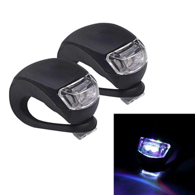 2 PCS 3 Modes 2-LEDs Waterproof Bicycle Rear Light Headlights Warning Light - Black - fommystore