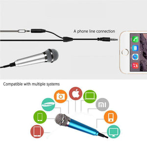 Stylish Mini Mobile Microphone with 3.5mm Audio Interface & 1.6m 3.5 mm Male to 2 Female Plug Adapter Cable - fommystore