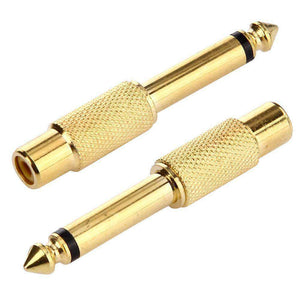 AMZER Gold Plated 6.35mm Memo Male to RCA Headphone Jack Adapter - fommystore