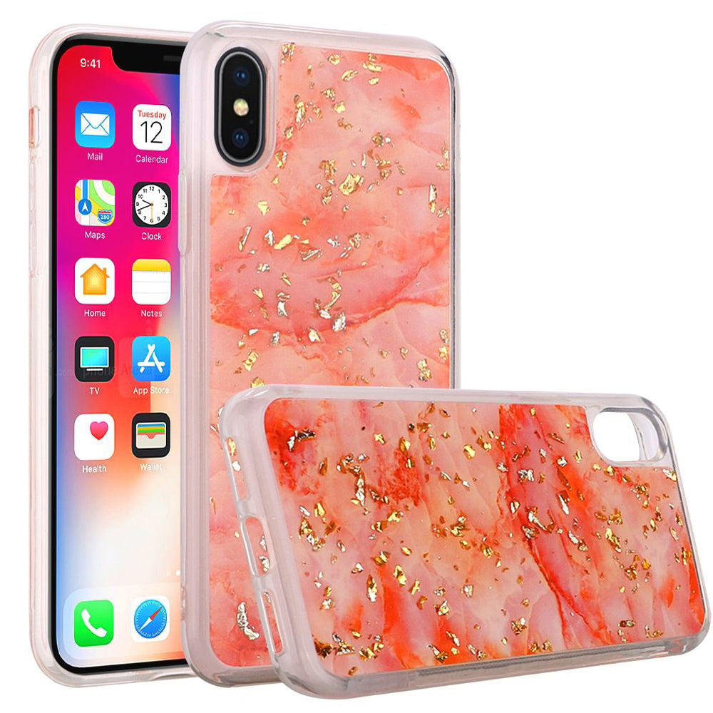 Slim Hybrid Marble Design Glitter TPU Case - Pink for iPhone X - fommystore