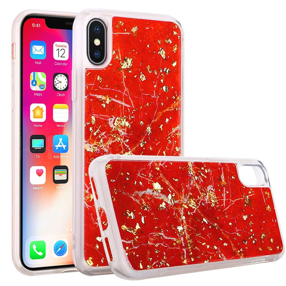 Slim Hybrid Marble Design Glitter TPU Case for iPhone X/iPhone Xs - Red - fommystore
