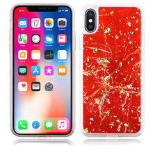 Load image into Gallery viewer, Slim Hybrid Marble Design Glitter TPU Case for iPhone X/iPhone Xs - Red - fommystore