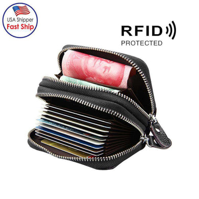 Leather Dual Layer Zipper Card Holder Wallet RFID Blocking Coin Purse Case - Black - fommystore