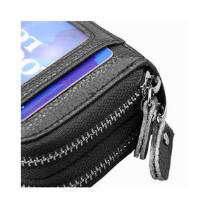 Leather Dual Layer Zipper Card Holder Wallet RFID Blocking Coin Purse Case-Black - fommystore