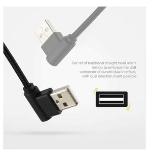 AMZER® 25cm USB to USB-C / Type-C Nylon Weave Style Double Elbow Charging Cable - Black - fommystore