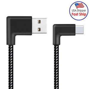 AMZER® 2m 2A USB to USB Type-C Nylon Weave Style Double Elbow Data Sync Charging Cable - Black