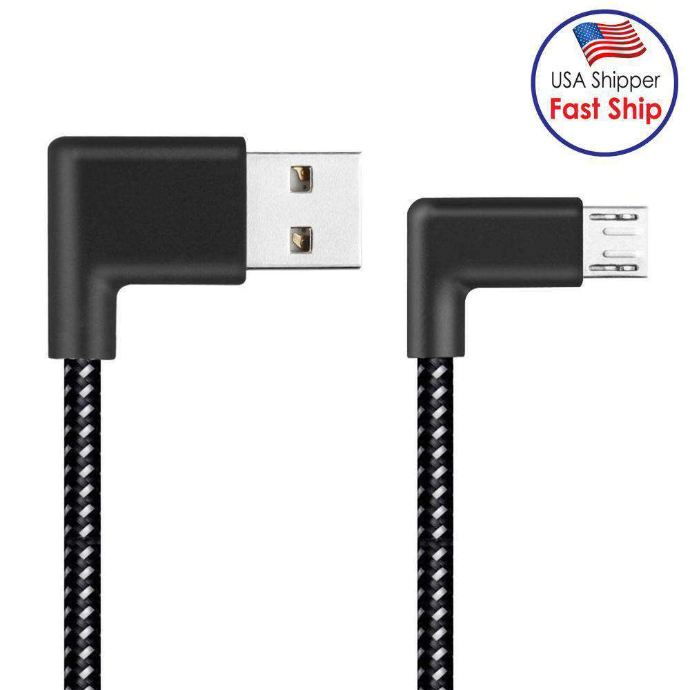 AMZER® 2m 2A USB to Micro USB Weave Style Double Elbow Data Sync Charging Cable - Black - fommystore