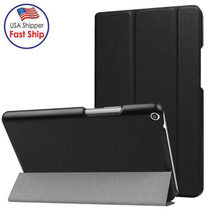 AMZER Flip Leather Case With 3-folding Holder for Huawei MediaPad T3 8.0 - Black - fommystore