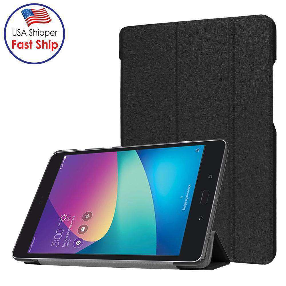 AMZER Flip Leather Case With folding Holder for ASUS ZenPad Z8s ZT582KL - Black - fommystore