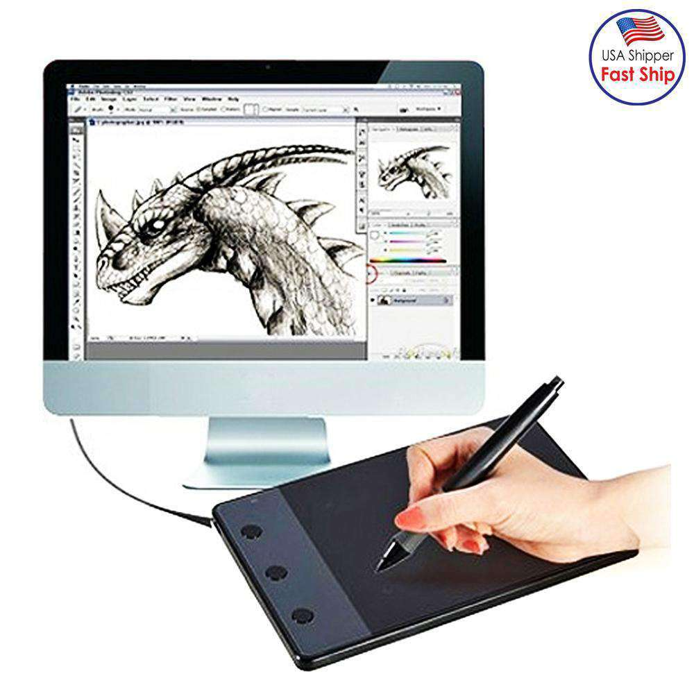 Computer input Device 4.17 x 2.34 inch 4000LPI Drawing Tablet Drawing Board with Pen - fommystore