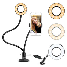 Load image into Gallery viewer, Universal Cell Phone Holder Selfie Ring Light With 3-Color Light Adjustment for Studio Recording, Fa - fommystore