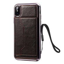 Load image into Gallery viewer, Electroplating TPU Texture Protective Leather Case with Holder & Card Slots & Lanyard for iPhone X/iPhone Xs - fommystore