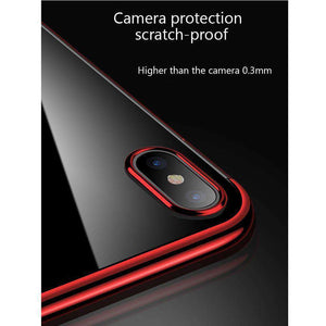 AMZER® Semi Electroplating Side TPU Protective Back Cover Case - Red for iPhone X/ iPhone Xs - fommystore