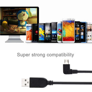 AMZER® 28cm 90 Degree Angle Left Micro USB to USB Data / Charging Cable - Black (Pack of 2) - fommystore