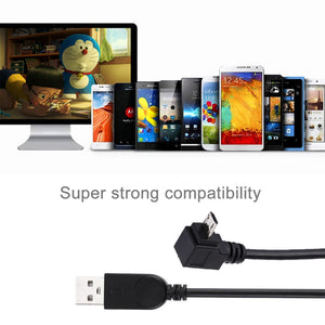 AMZER® 28cm 90 Degree Angle Elbow Micro USB to USB Data / Charging Cable - Black