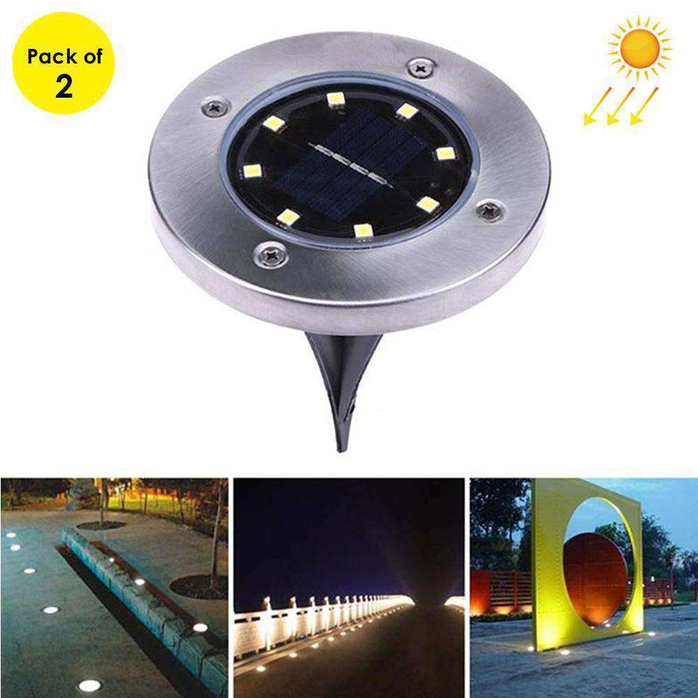 2 PCS 8 LEDs IP44 Waterproof Solar Powered Buried White Light Under Ground Lamp Outdoor Path Way Garden Decking LED Light - fommystore