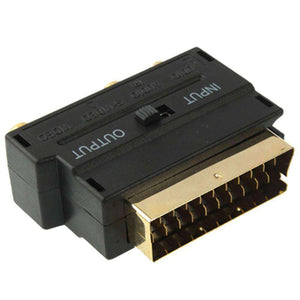 Scart Male to Female with Composite AV + S-Video Sockets - Black - fommystore