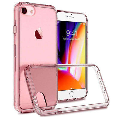 Shockproof Fusion Candy TPU Case with Clear Acrylic Back - Pink for iPhone 8 - fommystore