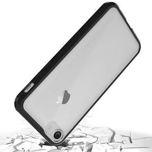 Shockproof Fusion Candy TPU Case with Clear Acrylic Back for iPhone 7/ iPhone 8 - Black - fommystore