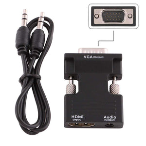 AMZER HDMI Female to VGA Male Converter With Audio Output Adapter for Projector, Monitor - Black - fommystore