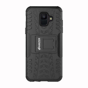 AMZER Shockproof Warrior Hybrid Case for Samsung Galaxy A6 - Black/Black - fommystore