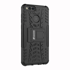 AMZER Shockproof Warrior Hybrid Case for Huawei Honor 7X - Black/Black - fommystore