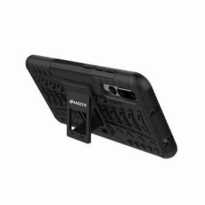 AMZER Shockproof Warrior Hybrid Case for Huawei P20 Pro - Black/Black - fommystore