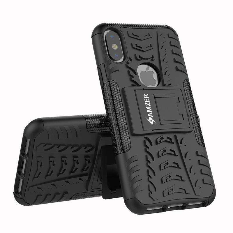 AMZER Shockproof Warrior Hybrid Case for iPhone X/ iPhone Xs - Black/Black - fommystore