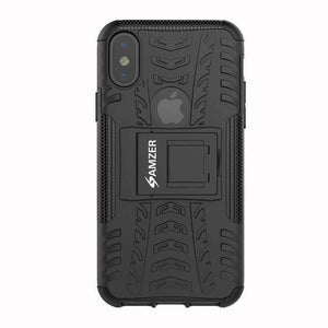 AMZER Shockproof Warrior Hybrid Case for iPhone X - Black/Black - fommystore