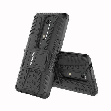 AMZER Shockproof Warrior Hybrid Case for Nokia 6.1 - Black/Black - fommystore