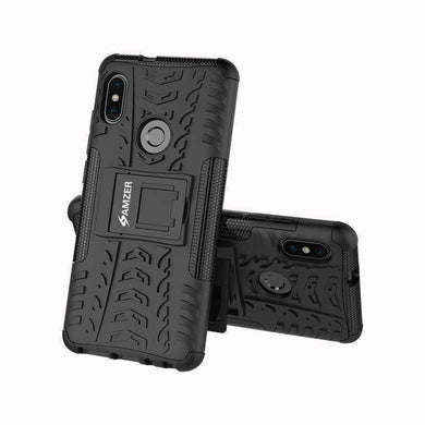 AMZER Shockproof Warrior Hybrid Case for Xiaomi Redmi Note 5 Pro - Black/Black - fommystore