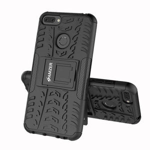 AMZER Shockproof Warrior Hybrid Case for Huawei Honor 9N - Black/Black - fommystore