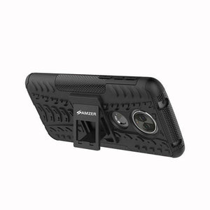 AMZER Shockproof Warrior Hybrid Case for Motorola Moto E5 Plus - Black/Black - fommystore