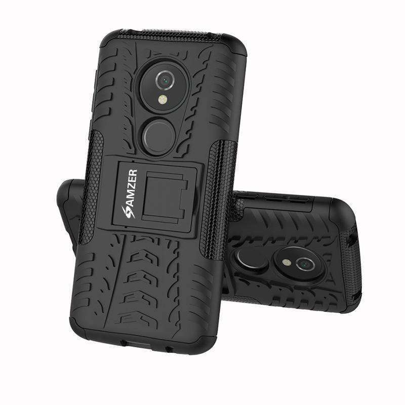 AMZER Shockproof Warrior Hybrid Case for Motorola Moto E5 - Black/Black - fommystore