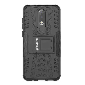 AMZER Shockproof Warrior Hybrid Case for Nokia 5.1 Plus - Black/Black - fommystore