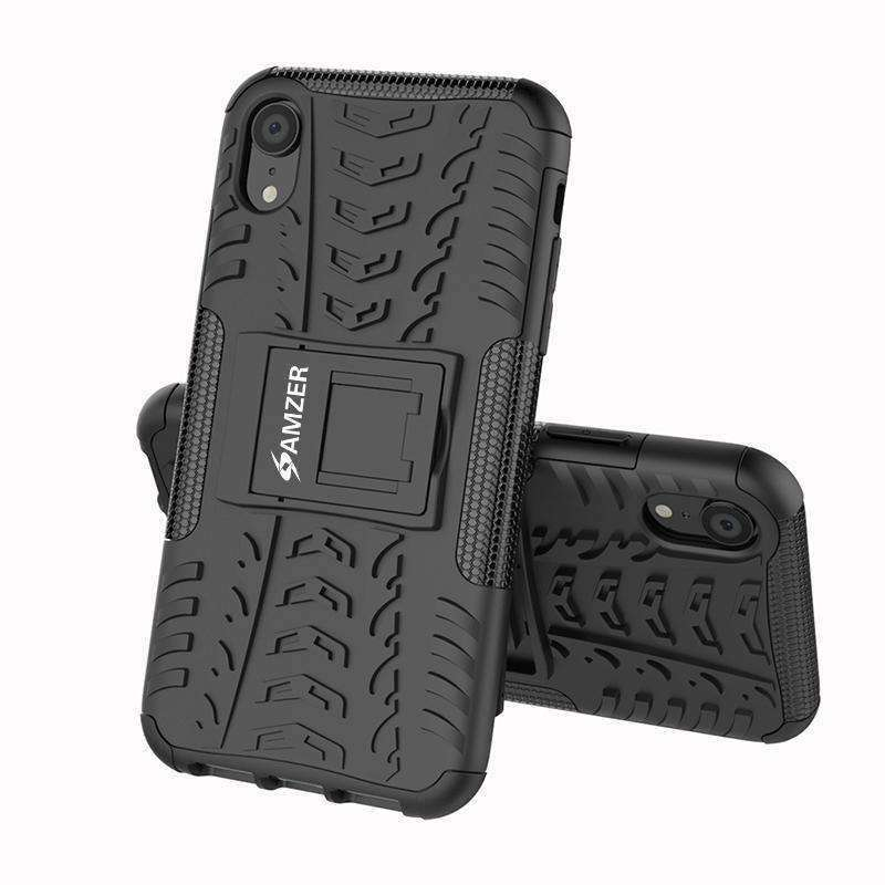 AMZER Shockproof Warrior Hybrid Case for iPhone Xr - Black/Black - fommystore